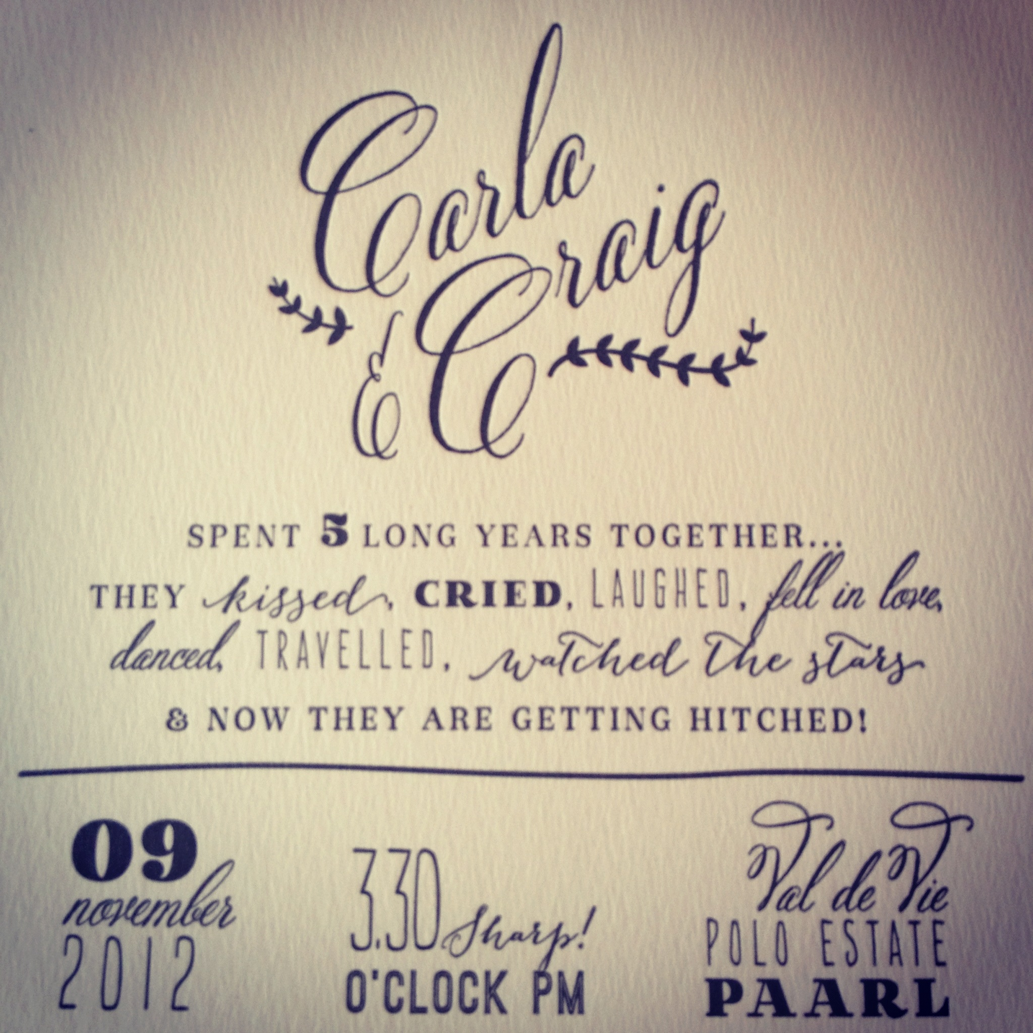 Letterpress wedding invite