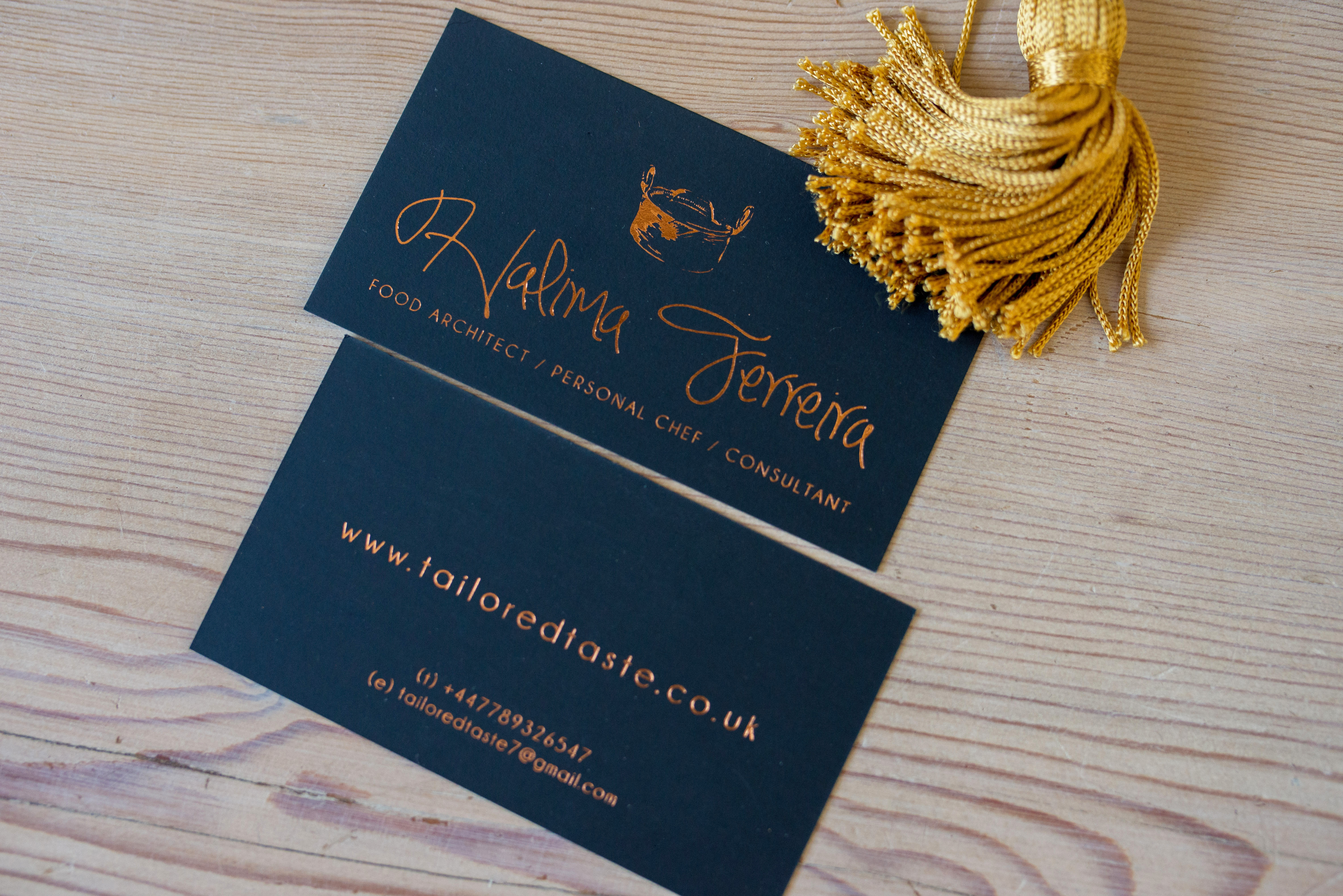 Copper foil on navy business card